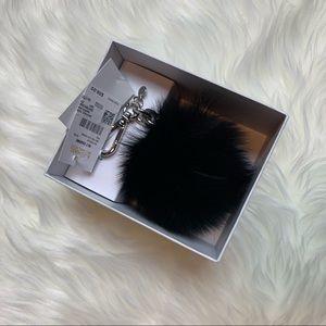 NWT Michael Kors Black Pom Keychain with Silver